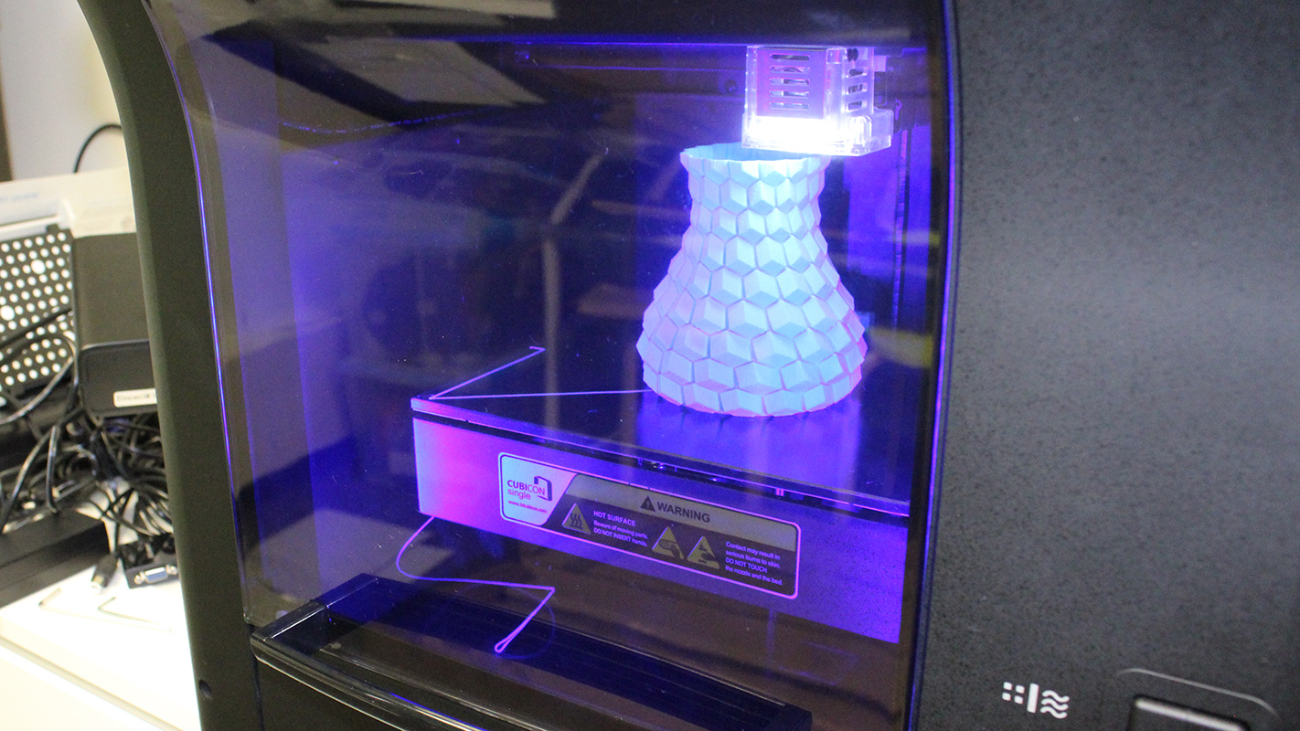 Vase being printed in a 3D printer